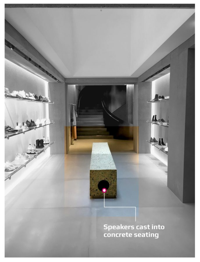 Stella McCartney London store discreet audio system installation