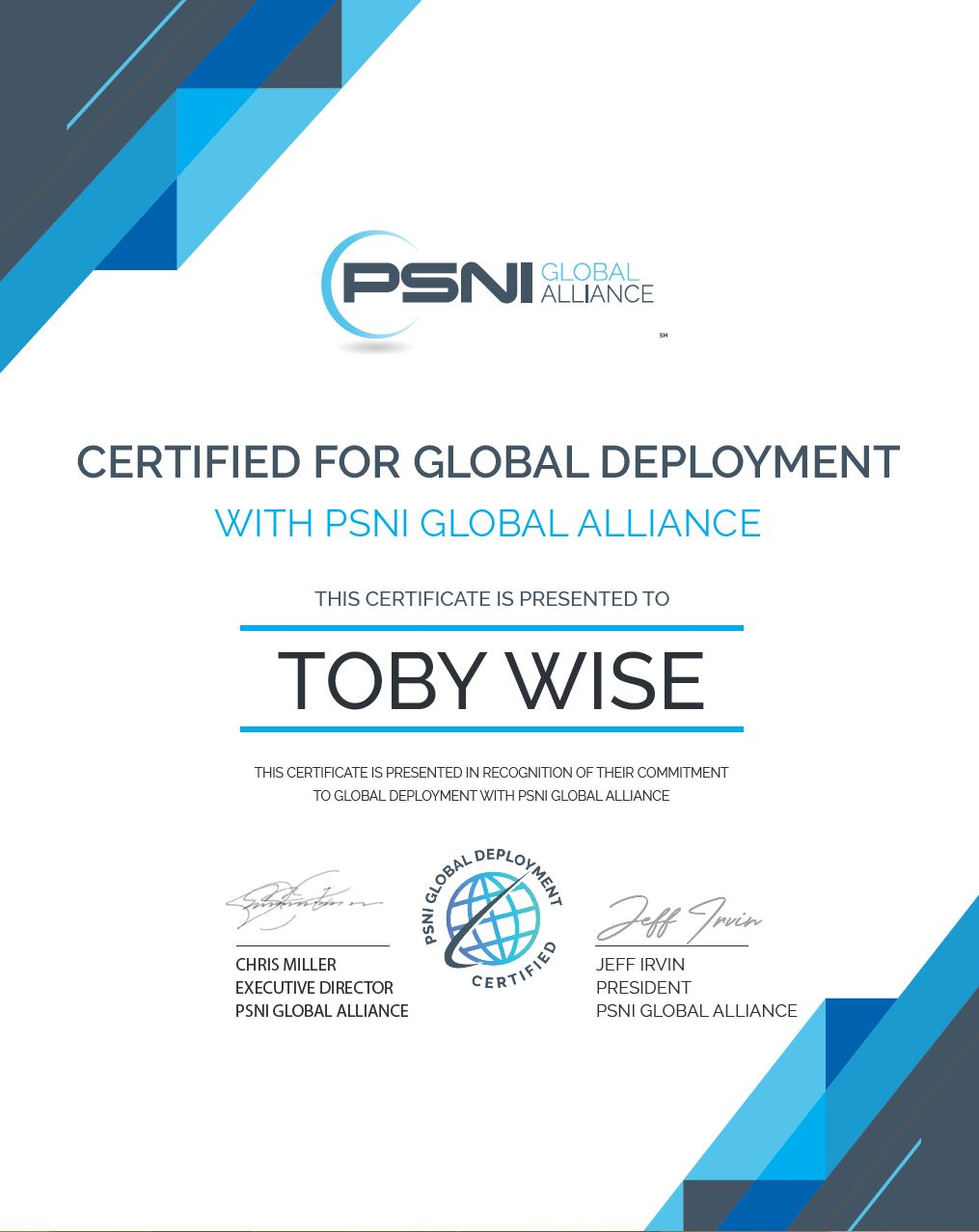Toby Wise PSNI Global Certificate